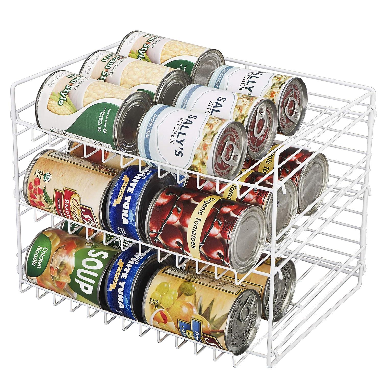 Smart Design Premium 3 Tier Can Rack Organizer w/Adjustable Shelves - Steel Metal Frame - Cans, Jars, Cooking Ingredients Organization - Kitchen (14.5 x 10.25 Inch) [White]