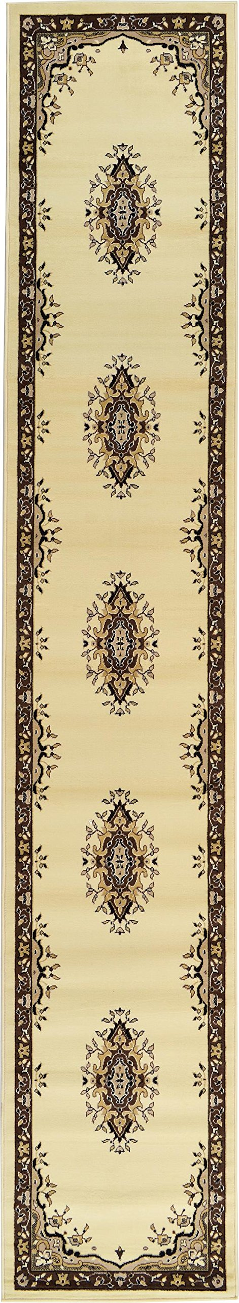 Unique Loom Reza Collection Classic  Traditional Ivory Runner Rug (3' x 16')