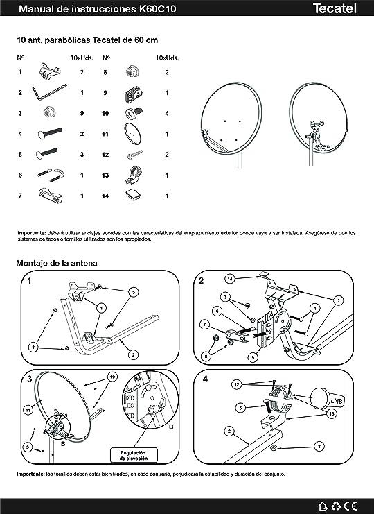 Kit Antena PARABOLICA 60cm Marca Tecatel + Soporte Pared + ...
