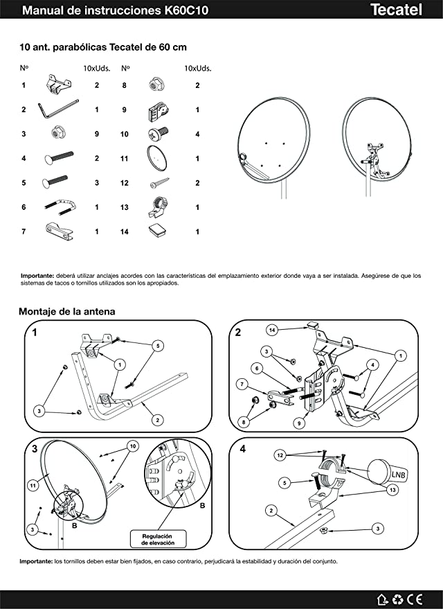 Kit Antena PARABOLICA 60cm Marca Tecatel + Rollo 20m TELEVES ...