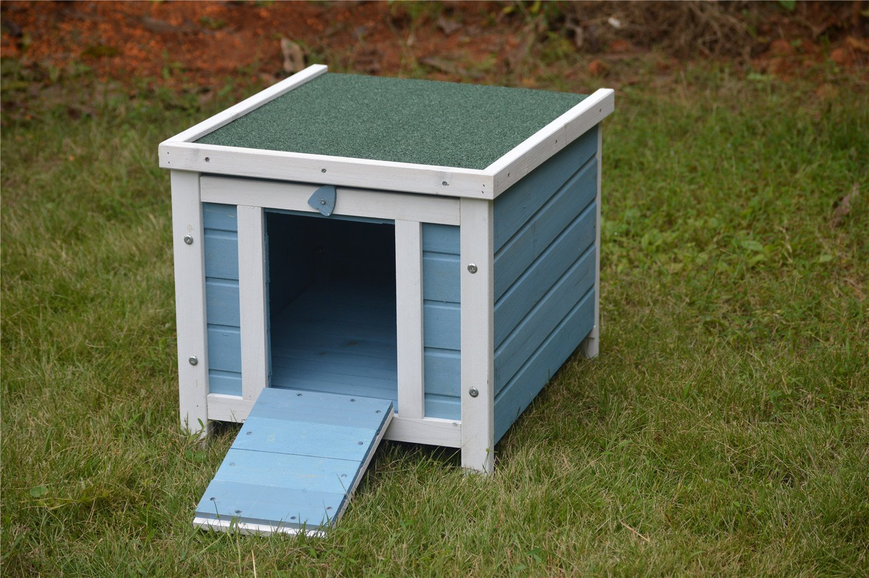 BUNNY BUSINESS Cat/Puppy/Rabbit/Guinea Pig Wooden Hide House, 51 x 44 x 42cm, Blue