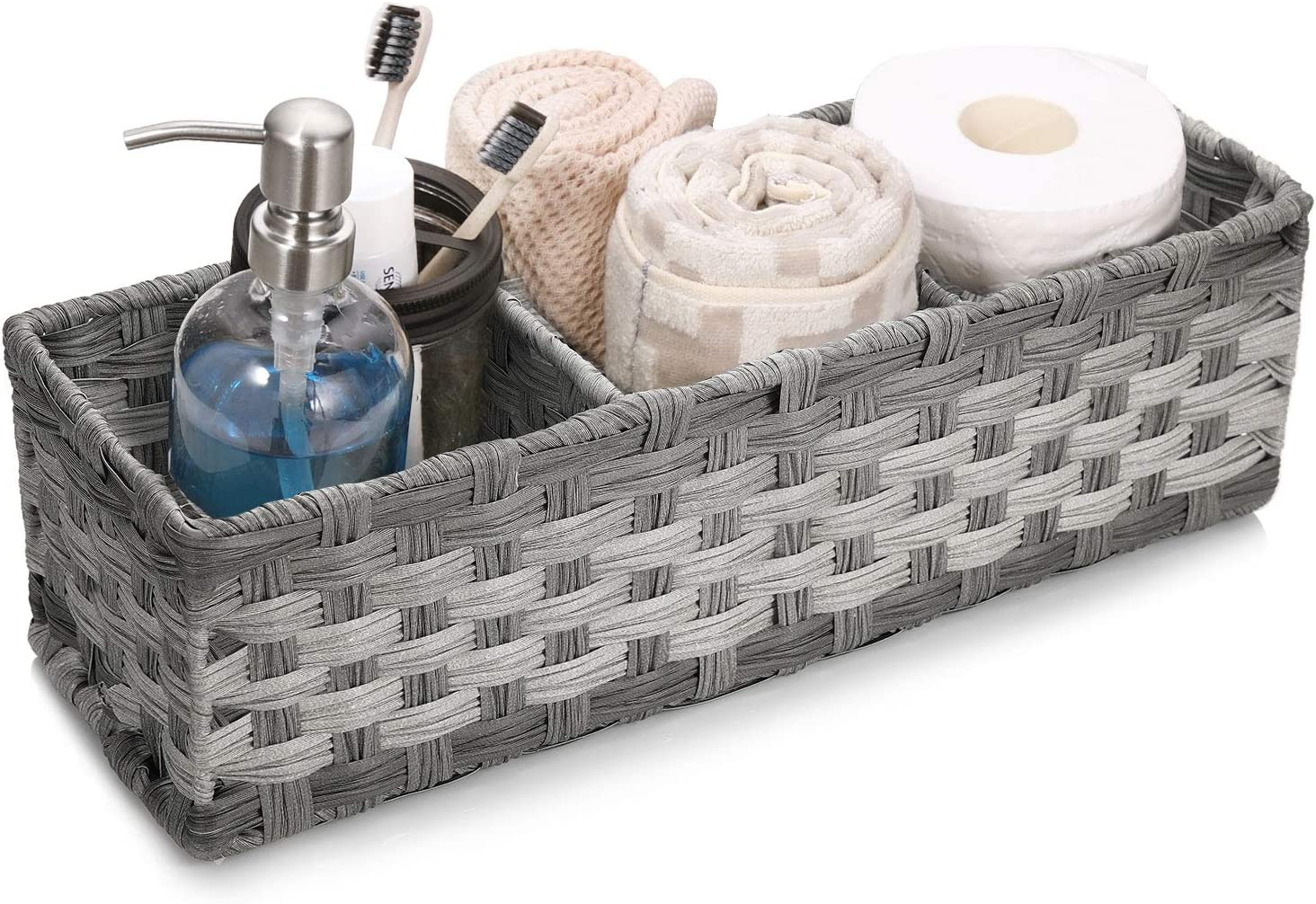 [Larger Compartments] Toilet Paper Basket for Tank Topper - Over, Top, Back of Toilet Tank Tray Split Hand-woven Basket - Rustic, Farmhouse Bathroom Decor, Storage Bin, Counter Organizer Basket, Gray