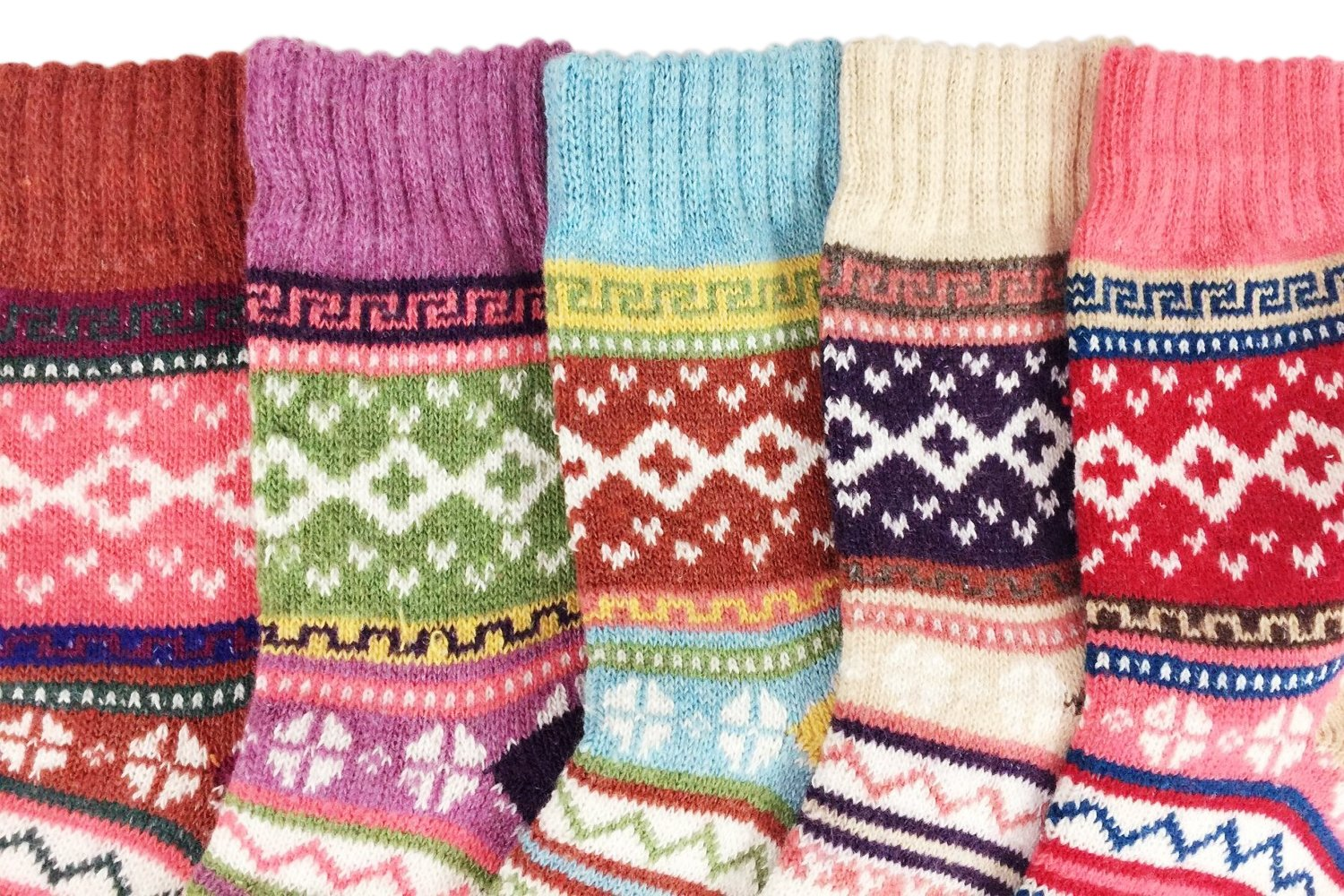 JOYEBUY 5 Pack Winter Fall Women Socks Vintage Style Cotton Knitting Wool Warm Crew Socks (One Size, Style 5) by JOYEBUY (Image #4)