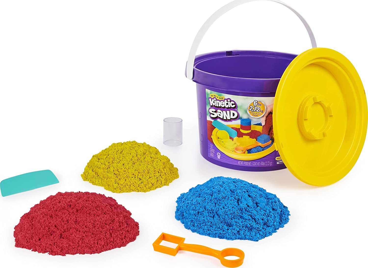 Kinetic Sand, 6lbs Bucket with 3 Colors of All-Natural Kinetic Sand and 3 Tools, Play Sand Sensory Toys for Kids Ages 3 and up
