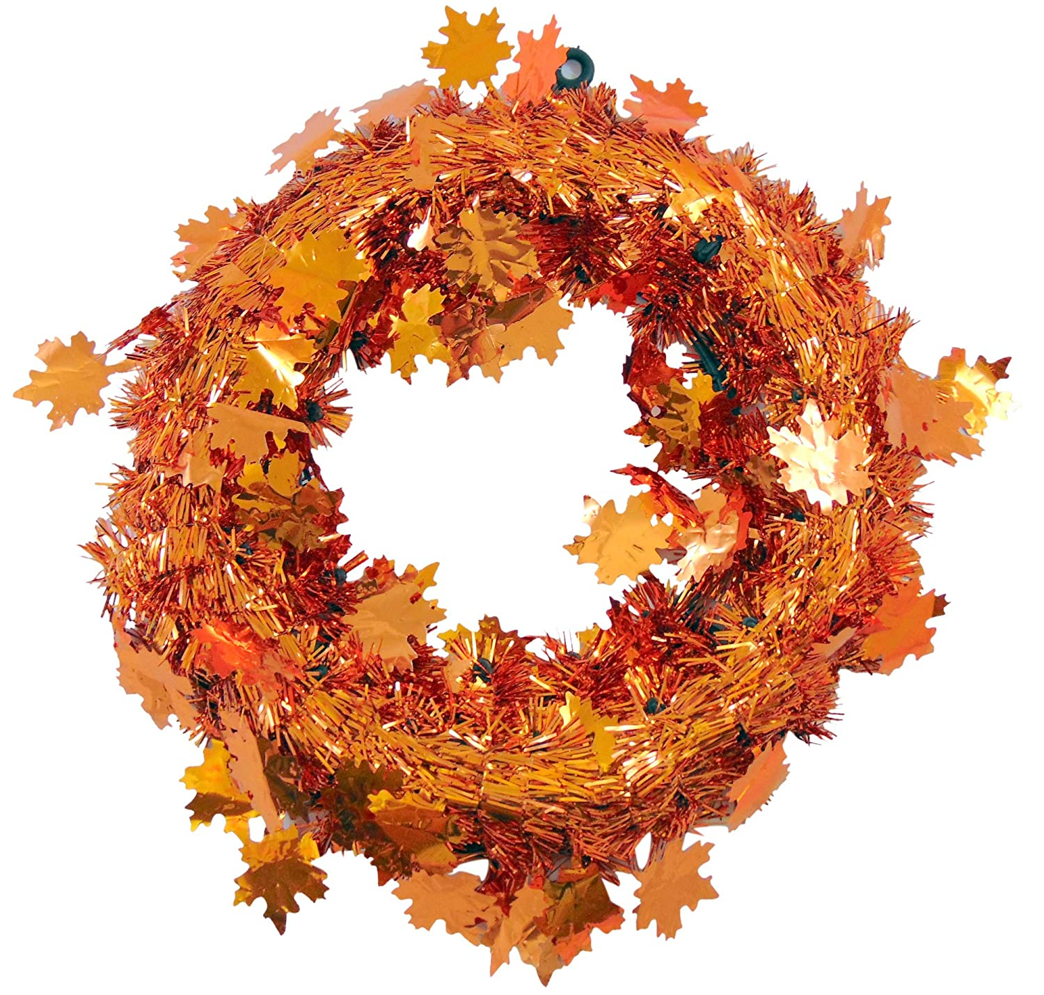 Its in the Bag Thanksgiving Door Wreath with Metallic Tinsel Orange Maple Leafs, 12 Inch