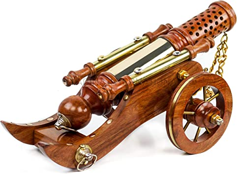 Wooden Hand-Carved Cannon Toy with Movable Wheels Model Home Decor