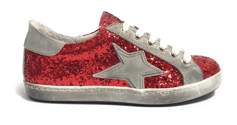 TONY WILD Damen Damen Damen Sneaker Glitter Rosso/Grigio - 0972a0