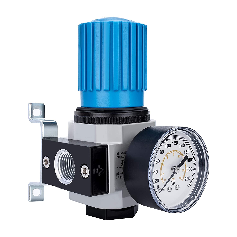 "NANPU 1/2"" NPT High Pressure Air Regulator with Steel-Protected Gauge, 141-SCFM 230Psi (LR-04)"