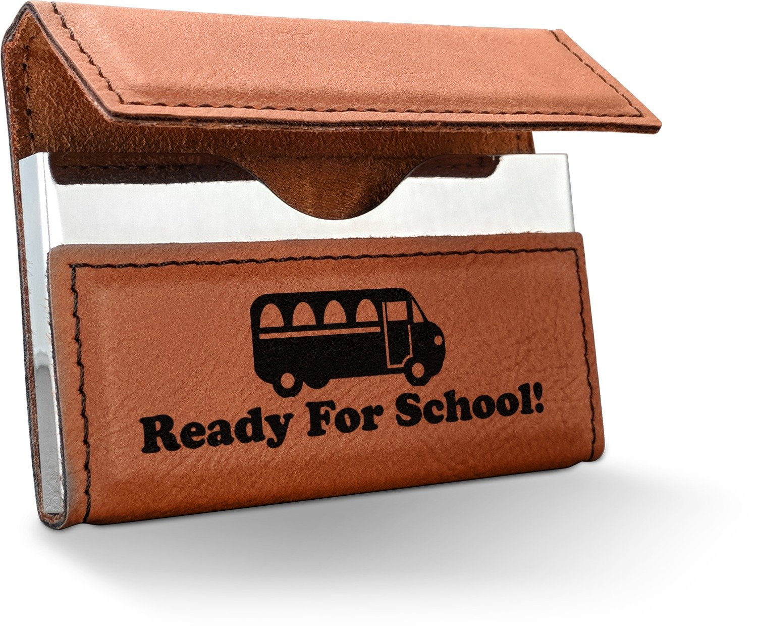 School Bus Leatherette Business Card Holder - Double Sided (Personalized)