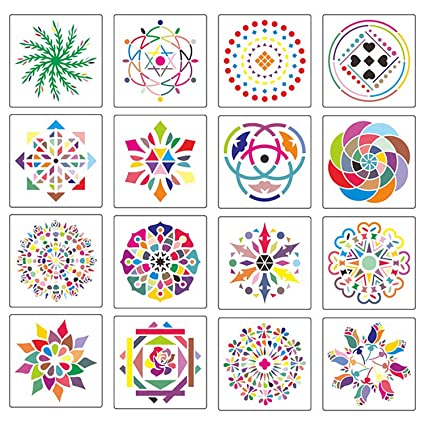 Mandala Stencils for Dot Painting on Rock and Wood, 16 Pack Reusable  Plastic Mandala Templates for Furniture Painting & Wall Art, DIY Home Decor