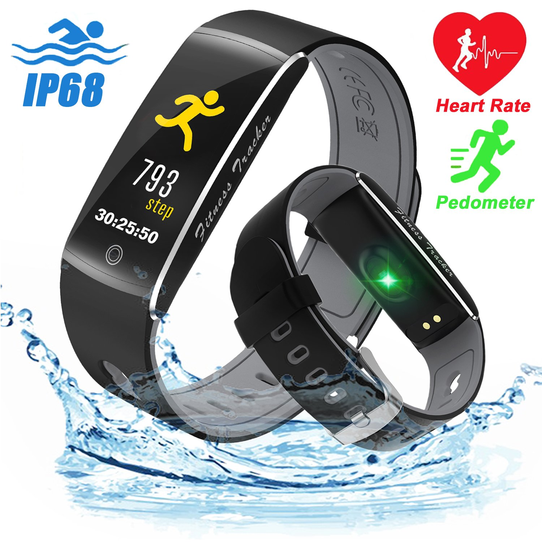 Qiwoo IP68 Waterproof Sports Smart Watch, Fitness Tracker Women Men Heart Rate Blood Pressure Oxygen Sleep Monitor Pedometer Calorie Wearable Travel Office Android iOS (A - Black)