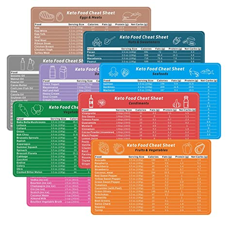 graphic about Printable Low Carb Food List known as Yarkor Keto Diet regime Magnetic Cheat Sheet 9 Pack, 153 Components Ketogenic Food plan Small Carb Meals Checklist Chart Magnets, Marcro Cookbook Recipes Food stuff Basic Effortless