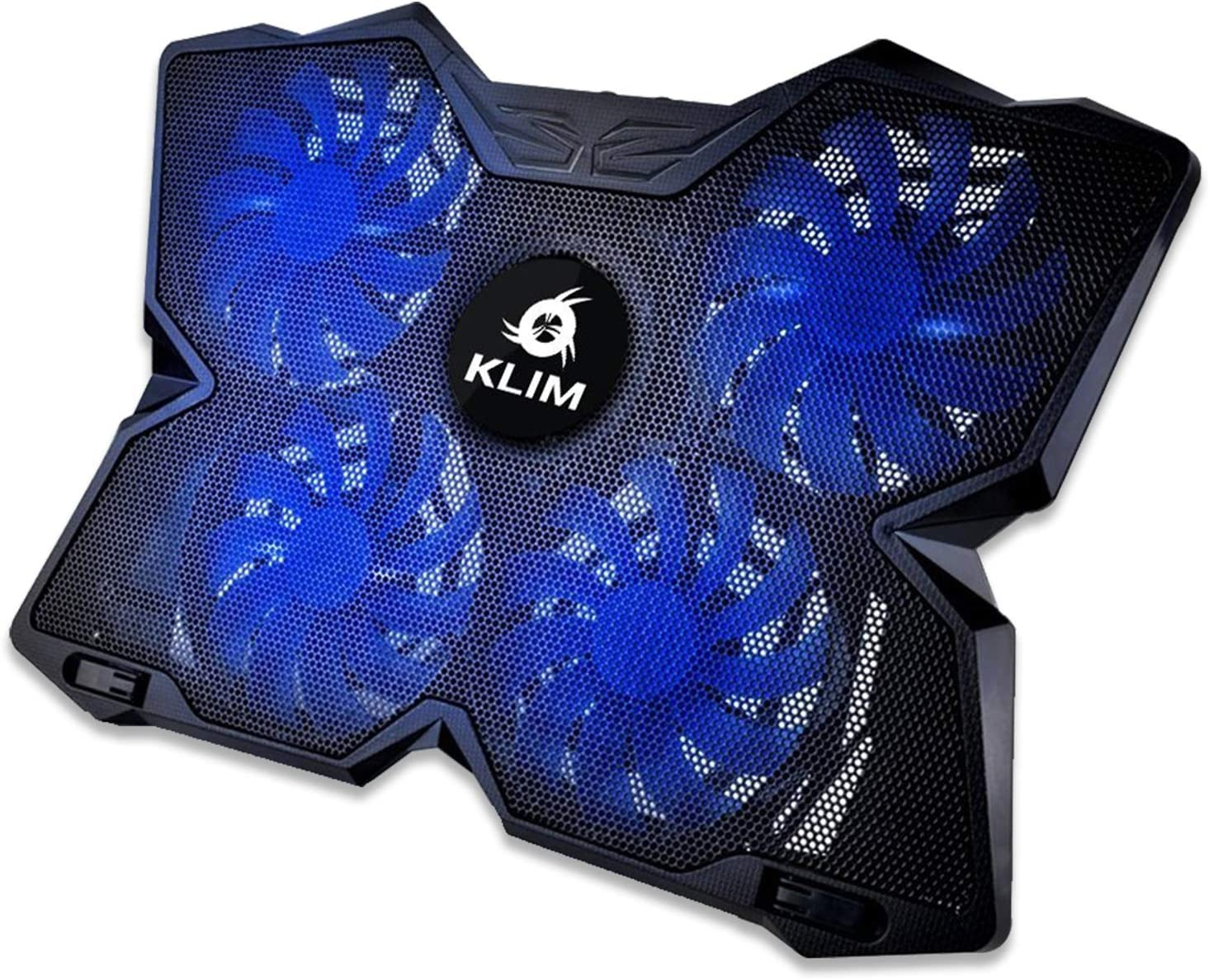 KLIM™ Wind Laptop Cooling Pad - Support 11 to 19 Inches Laptops, PS4 - [ 4 Fans ] - Light, Quiet Rapid Cooling Action - Ergonomic Ventilated Support - Gamer USB Slim Portable Gaming Stand - Blue