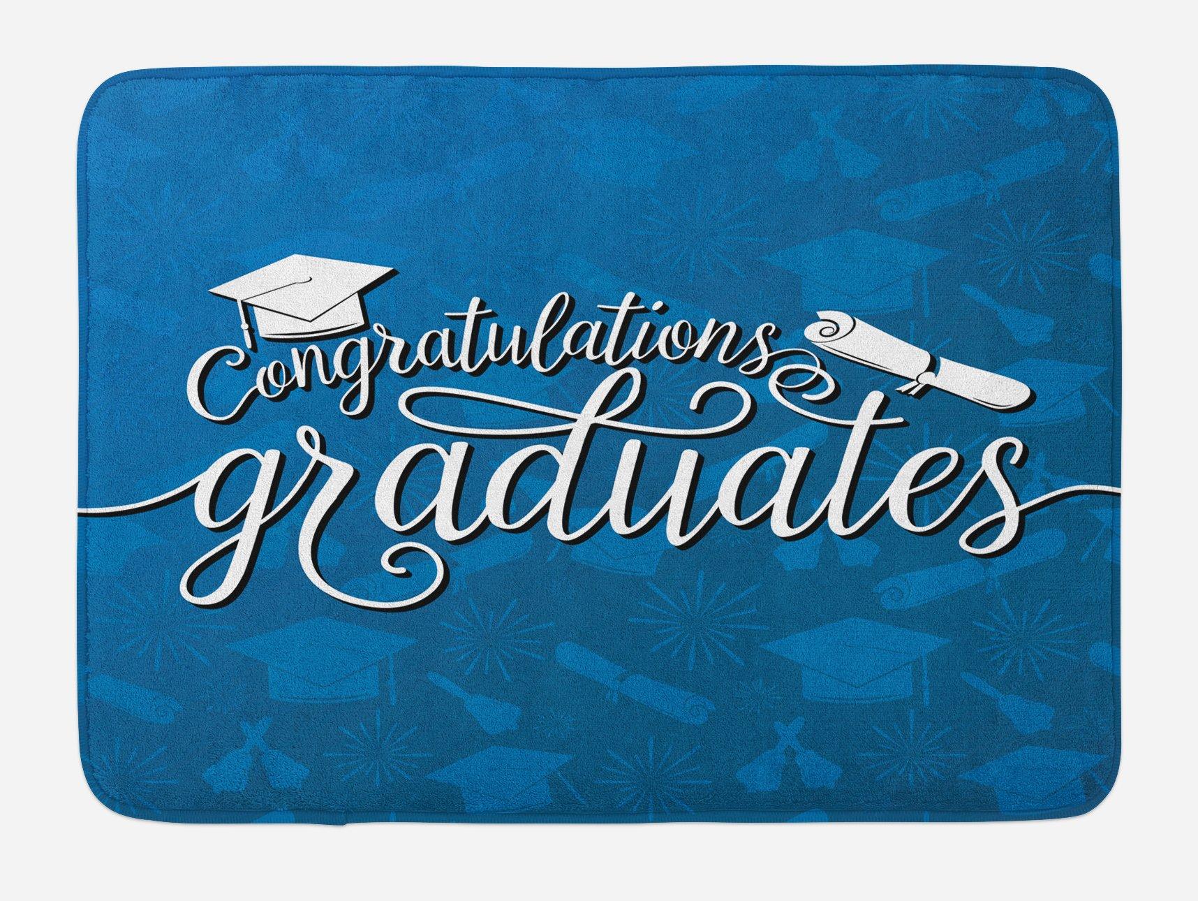 Lunarable Graduation Bath Mat, College Celebration Ceremony Certificate Diploma Square Academic Cap Print, Plush Bathroom Decor Mat with Non Slip Backing, 29.5 W X 17.5 W Inches, Blue and White