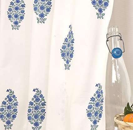 Amazon Designer French Country Blue Bohemian Hand Block Printed