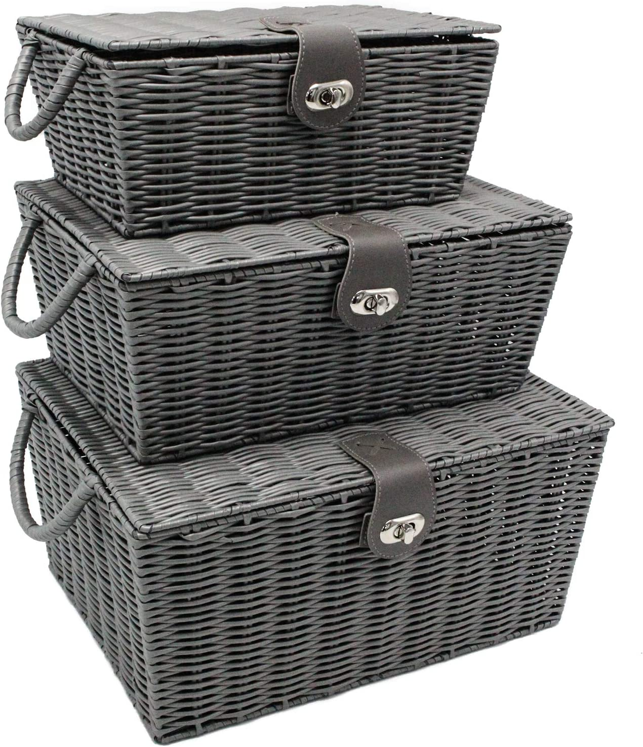 OLLVIA Wicker Storage Baskets with Lid for Organizing, 3 Foldable Storage Bins with Lid for Cube Organizing, Wicker Storage Basket with Handle for Organizing Shelf Nursery Home Closet