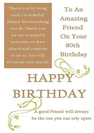 Friend 80th Birthday card