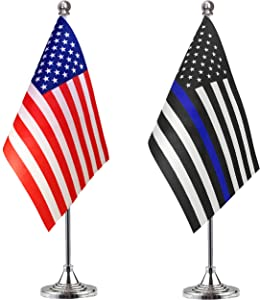 LoveVC Thin Blue Line USA American Police Desk Flag Small Mini Office Table Flags with Stand Base,2 Pack
