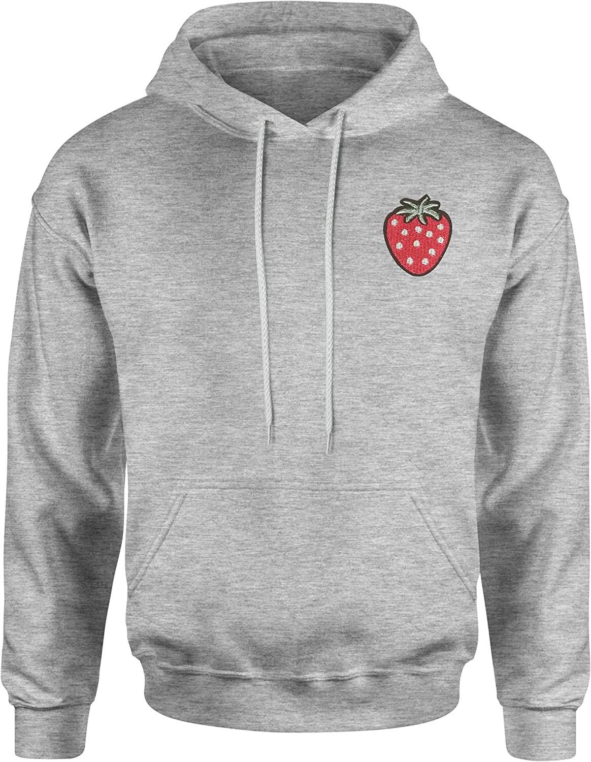 Unisex Adult Hoodie Pocket Print Expression Tees Embroidered Strawberry Patch