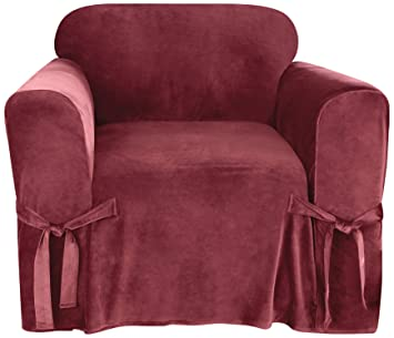 Amazoncom Sure Fit Soft Touch Velvet Chair Cover Garnet Home