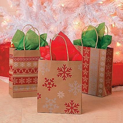 Amazon.com: Red & White Nordic Print Craft Bags 1 Dozen - Christmas ...