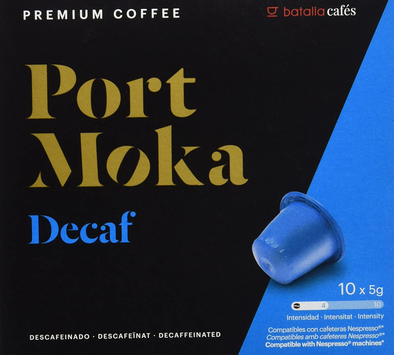 Port Moka Cápsulas de Café Decaf Compatibles con Cafetera Nespresso - 4 Paquete de 10 Unidades