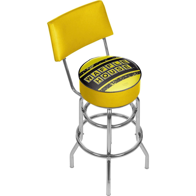 Waffle House Vintage Padded Swivel Bar Stool with Back
