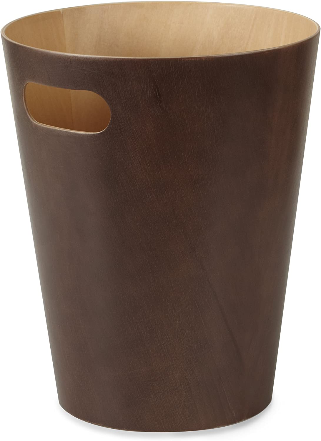 Umbra Woodrow, 2 Gallon Modern Wooden Trash Can Wastebasket or Recycling Bin for Home or Office, Espresso