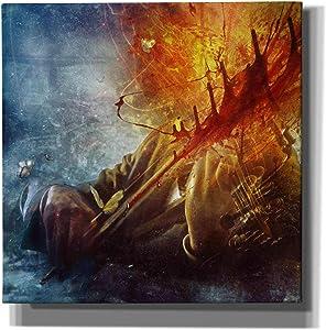 "Cortesi Home 'A Look Into The Abyss' by Mario Sanchez Nevado Canvas Wall Art, 18"" x 18"", Orange"
