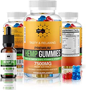 Herbal Science Premium Hemp Gummies: 7500mg Natural Hemp Extract Candy Supplement for Pain, Anxiety, Sleep, Stress, Memory, Mood - 60 Fruity Gummy Bears and 250mg Hemp Oil Extract Drops