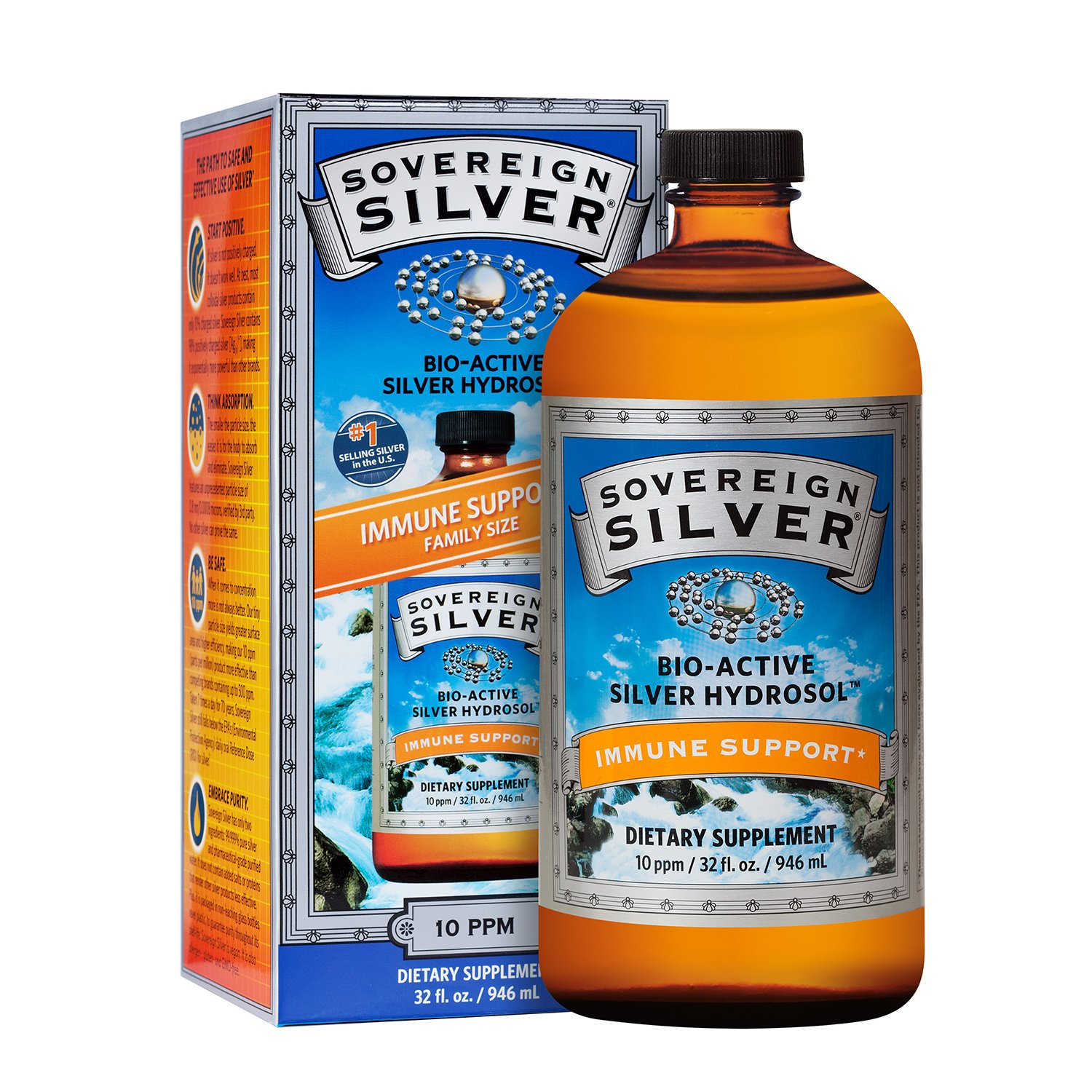 Sovereign Silver Bio-Active Silver Hydrosol for Immune Support* - 32oz - The Ultimate Refinement of Colloidal Silver - Safe*, Pure and Effective* - Premium Silver Supplement - Family Size by Sovereign Silver