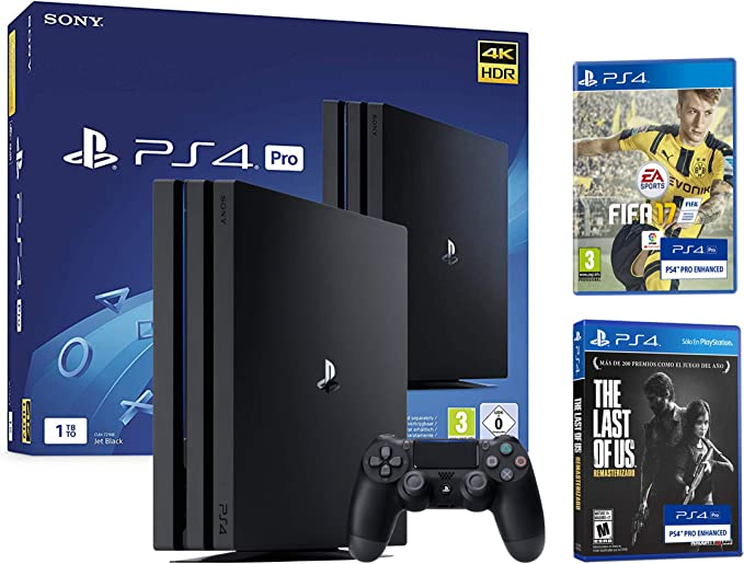 PS4 Pro 1TB Playstation 4 - Pack 4K - Incluye 2 Juegos con Resolución 4K nativa - FIFA 17 + The Last of Us: Remastered: Amazon.es: Videojuegos