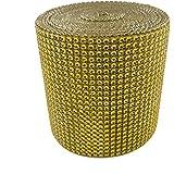"Diamond Mesh Wrap Roll Rhinestone Crystal Ribbon 4.5"" x 10 yards (Gold)"