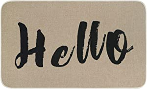 Home Hello Doormat, Welcome Entrance Door Mats with Rubber Backing Non-Slip, Farmhouse Low-Profile Floor Mat for Indoor Outdoor Front Porch Decorative, 18 x 30 Inch
