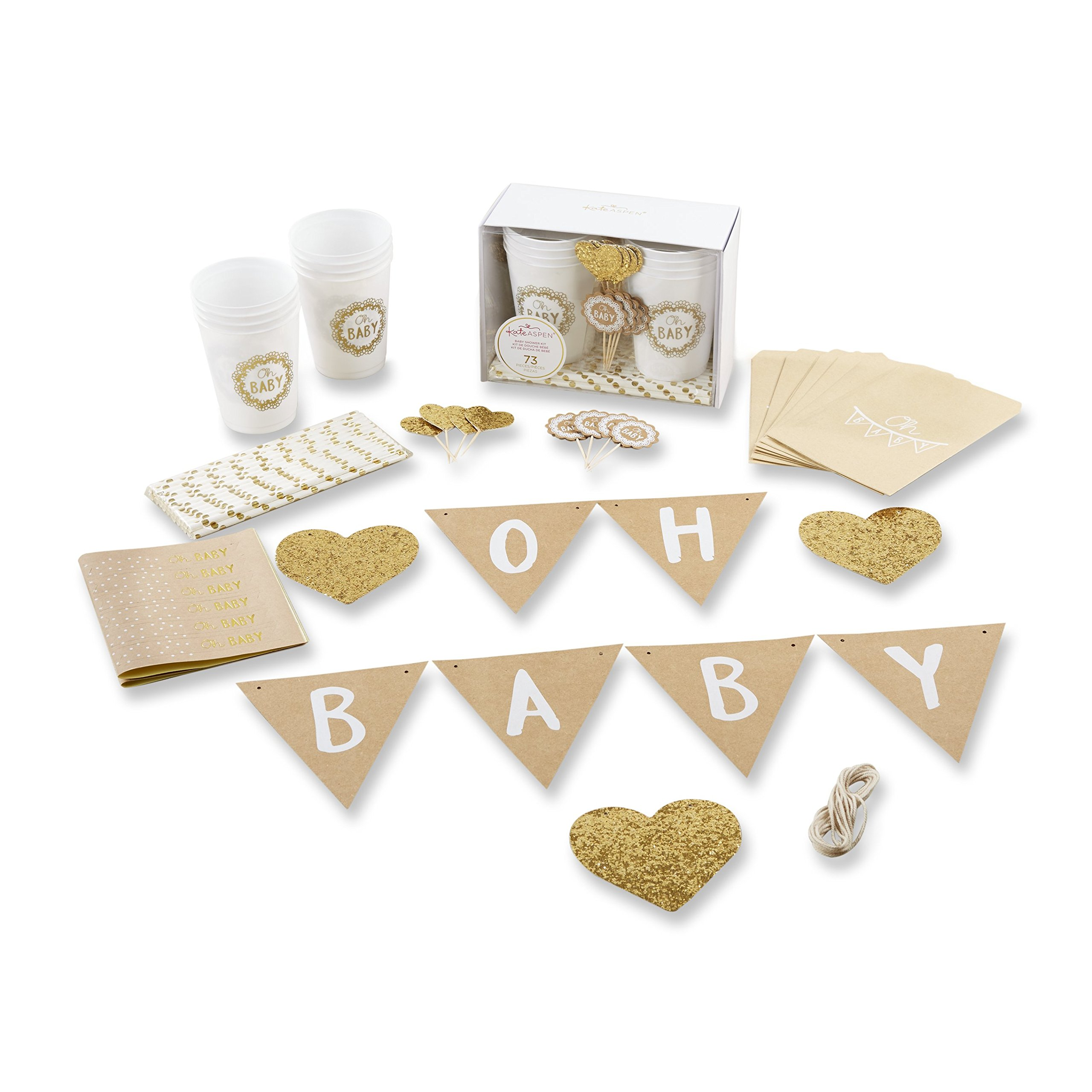 Kate Aspen Oh Rustic 73-Piece Baby Shower Kit Party, Brown, White and Gold