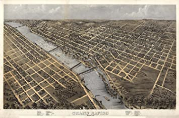 Amazoncom MAP AERIAL BIRDS EYE GRAND RAPIDS MICHIGAN 1868 LARGE
