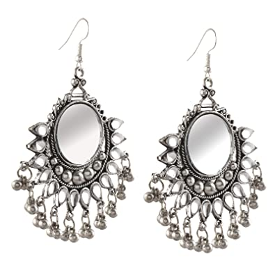 93d9e86f2 Amazon.com: Zephyrr Fashion German Silver Afghani Dangler Hook Chandbali Earrings  Mirrors For Girls and Women: Jewelry