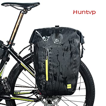 Huntvp 25L Bolsa Trasera de Bicicleta Impermeable y Multifunción Alforja Asiento Trasero Carrier Bolsas de Sillín Alforjas de Ciclismo