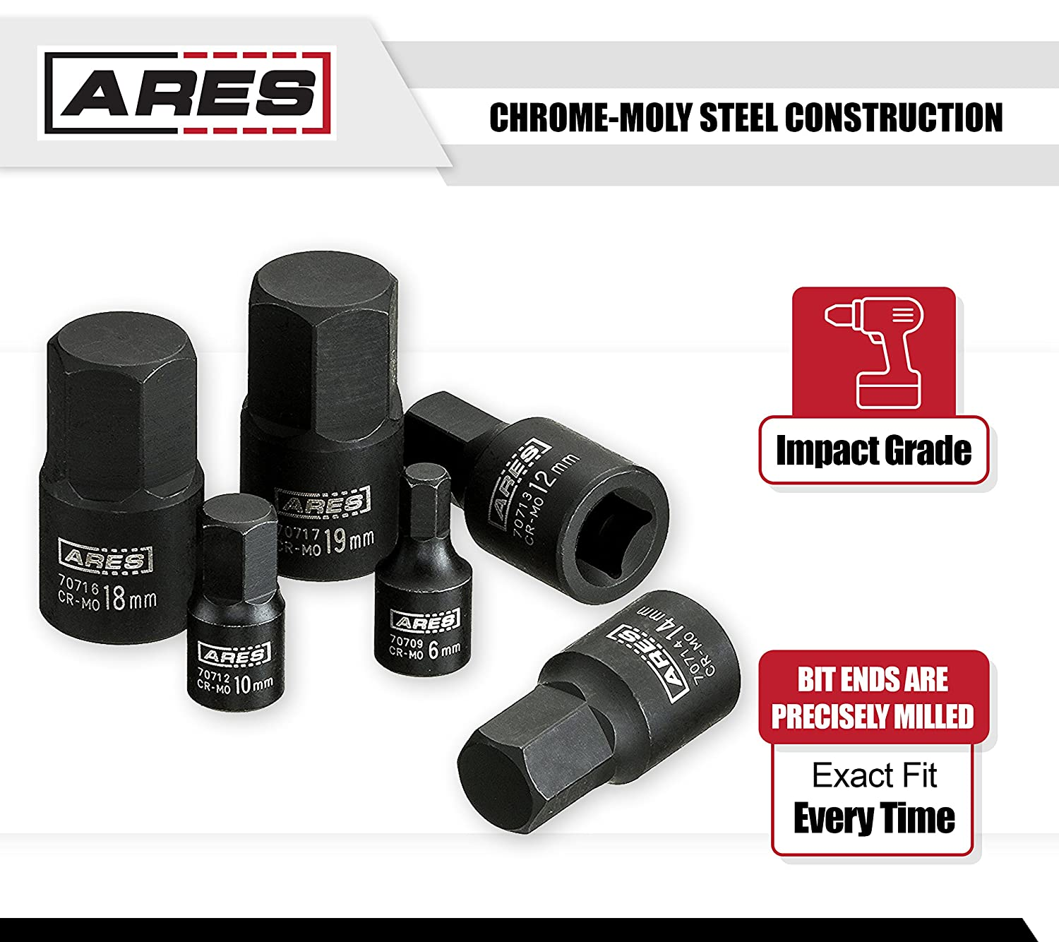 Low Profile and Designed for Impact Use ARES 70496 Includes Storage Rail 9-Piece SAE Impact Hex Driver Socket Set Chrome Moly Steel Construction and Manganese Phosphate Coating