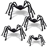 F FiGoal 4 Pack Halloween Giant Spider Spooky Hairy Spiders Halloween Indoor and Outdoor Yard Decoration Scary Creepy…
