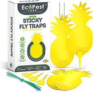 ECOPEST Sticky Fruit Fly and Gnat Traps – 25 Pack | Yellow Fly Paper Trap for House Plants and Gnat Sticky Traps for Fruit Flies, Fungus Gnats, and Other Flying Insects | Indoor and Outdoor Fly Tape