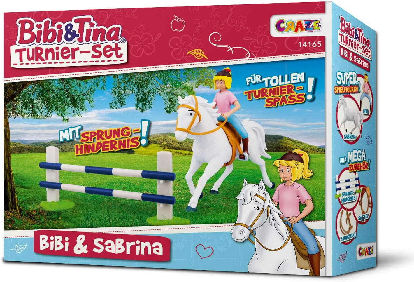 CRAZE- Turnier-Set-Bibi & Sabrina Tina Bibi & Tina Torneo Establecido con el Jinete Bibi y Sabrina Incl. Accesorios de equitación Figuras de Juguete coleccionables 14165, Individual, Multicolo