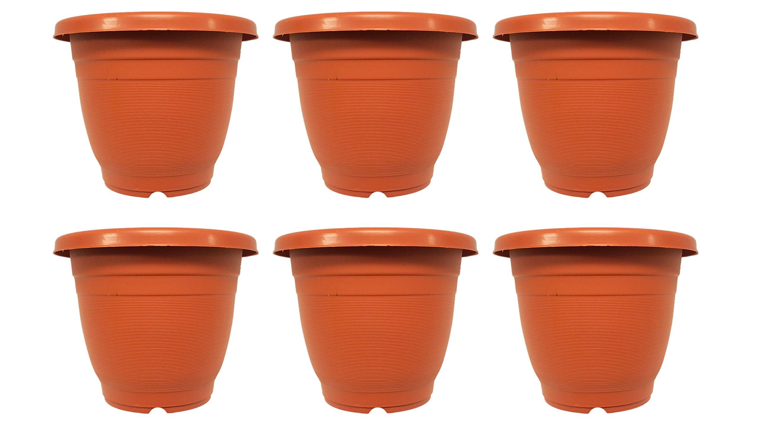 "Set of 6 Planters Brown Round 7"" x 6"" Planters / Pots (Brown)"