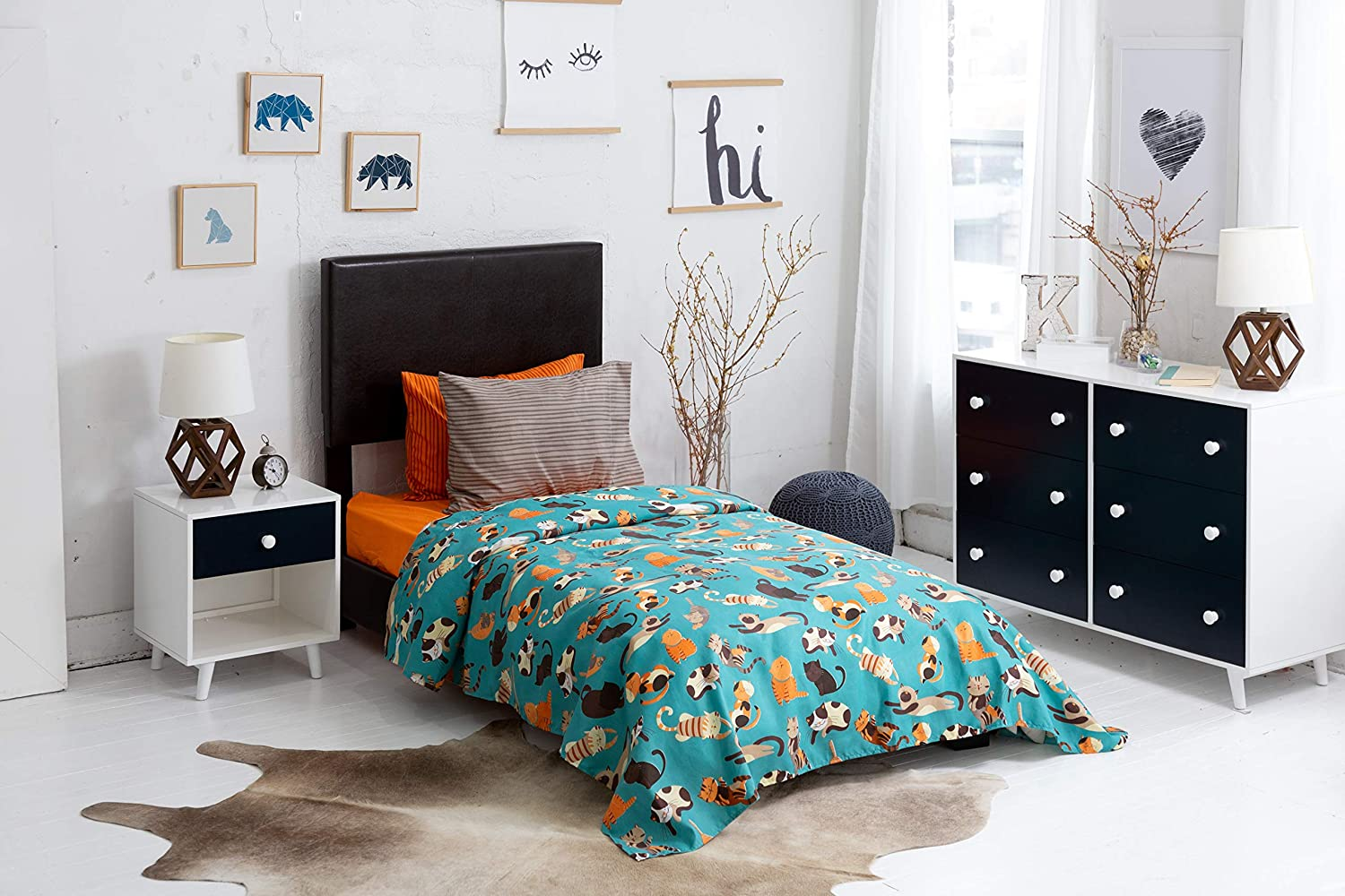 """Chital 4 Pc Twin Bed Sheets 1 Flat 15/"""" Deep Durable Super-Soft Double-Brushed Microfiber Pet Lovers Gift Idea 1 Fitted Sheet; 2 Pillow Cases Gender Neutral Cat Print Kids Bedding Set"""