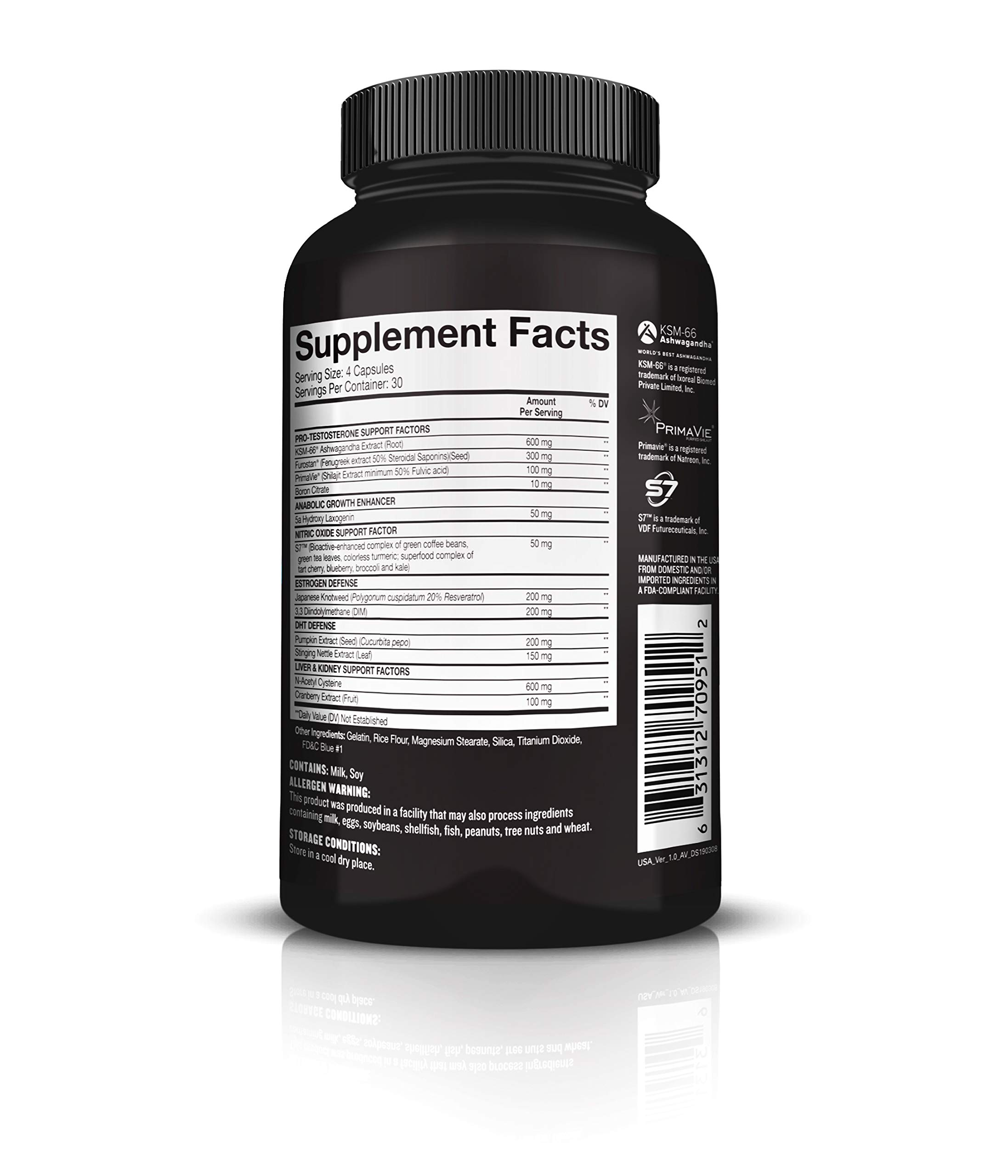 Beast Sports Nutrition - Super Test Maximum Caps - Ultra-Premium All-Inclusive Test Booster - Supports Your Natural Test Levels - Clinical Dosage w/KSM-66, Furostan, S7 & PrimaVie - 120 Capsules by Beast Sports Nutrition (Image #3)