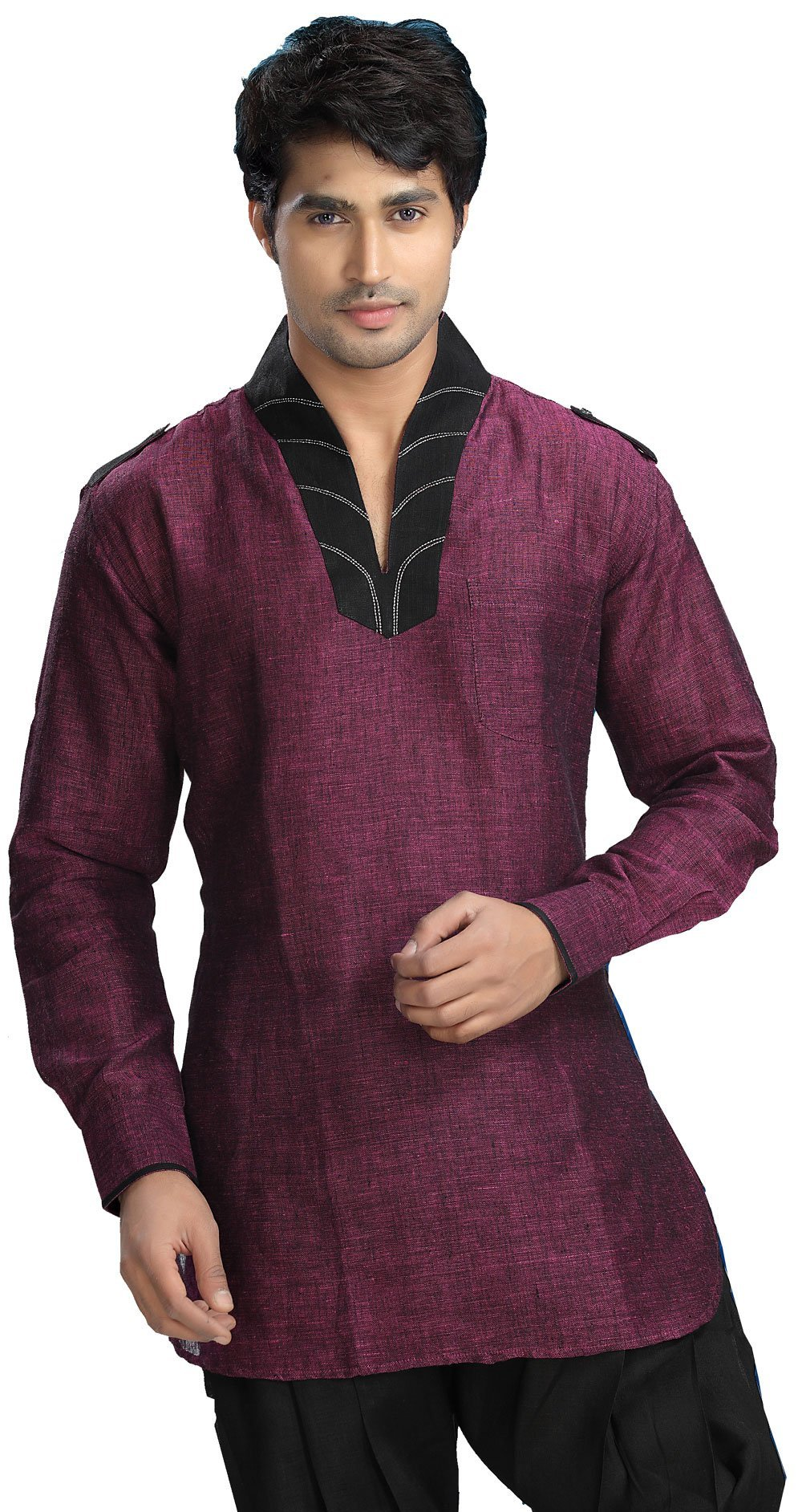 Indian Clothing Fashion Shirt Mens Short Kurta Dress Linen Cotton (Magenta, XL)