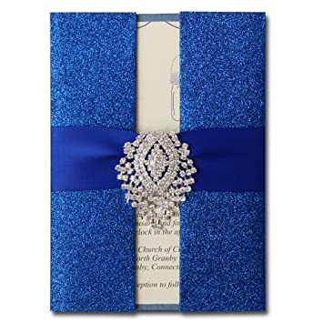 Amazon Com Royal Blue Wedding Invitation Shimmer Invitation Card
