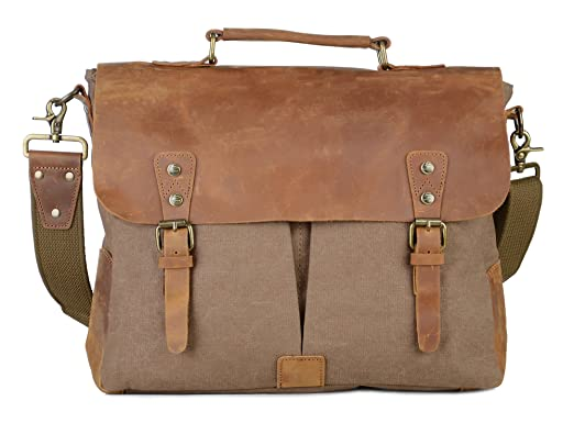 b246c77e01a Gootium Canvas Leather Messenger Bag - Vintage Briefcase 15.6 quot  Laptop  Shoulder Bag, ...