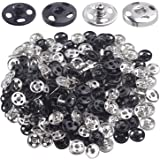 120 Sets Sew-on Snap Buttons, Metal Snap Fasteners Buttons Press Button Stud for Sewing Craft Clothes DIY Decoration - Black