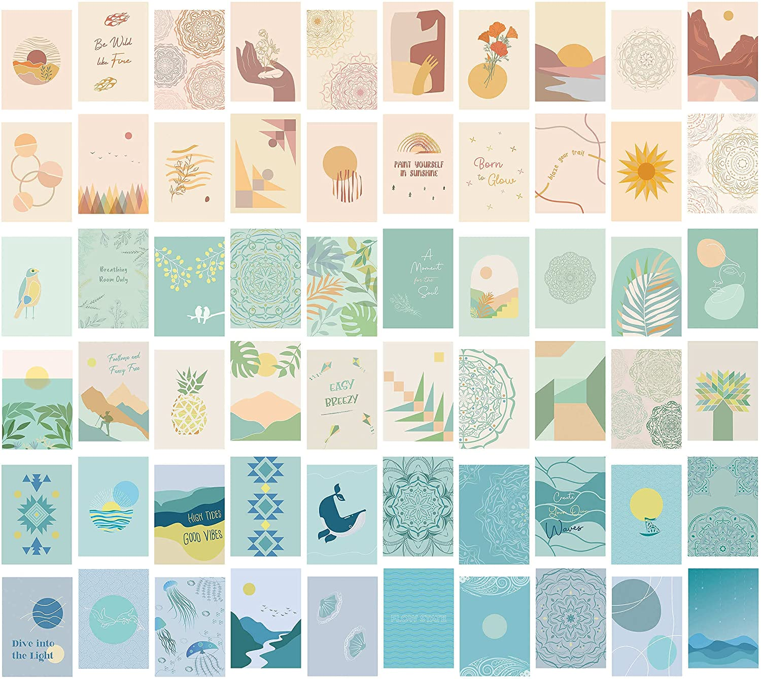 60PCS Boho Wall Collage Kit (5x7) | 3 Sets in 1 | Nature Themed Cute Wall Art Prints in Pretty Pastel Colors | Aesthetic Room Decor by Vibes and Vistas